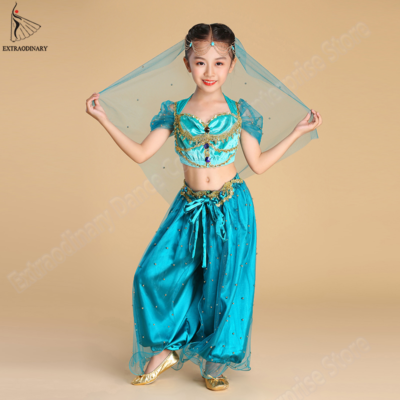 New Children Halloween Jasmine Princess Costumes Belly Dance Veil Top Pant 4 Pieces Set Kids Bollywood Clothes