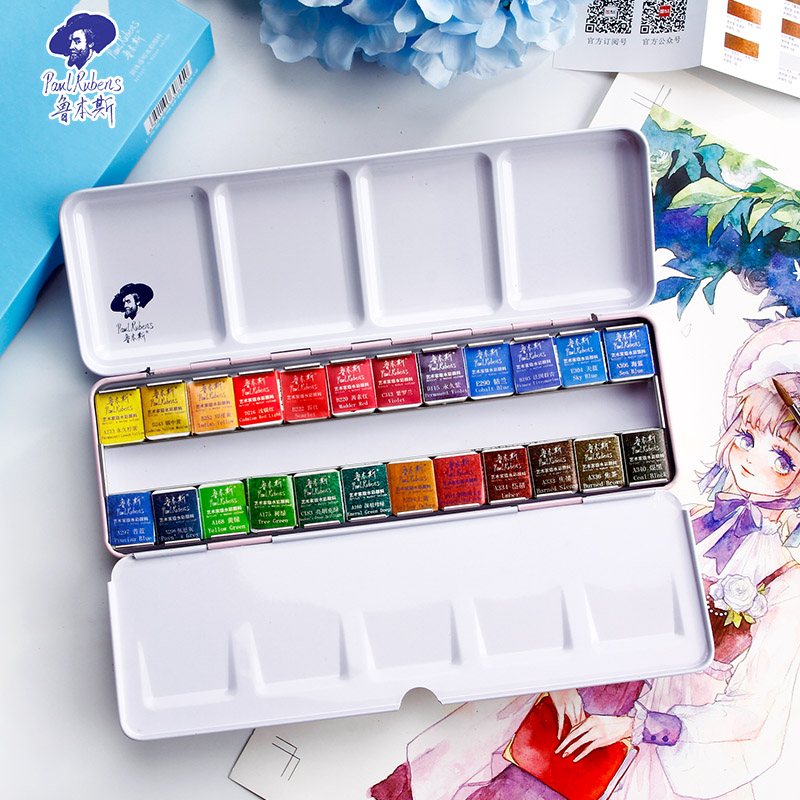 Rubens профессиональные однотонные акварельные краски в наборе, 12/24/48 цветов, в металлической коробке, яркие пигменты для акварели|Акварель|   | АлиЭкспресс