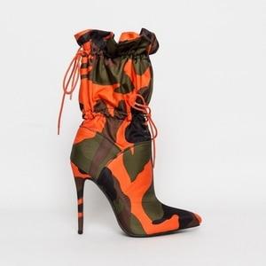 Image 3 - Perixir Hoge Dunne Hakken Laarzen Voor Vrouwen 11Cm Stiletto Mode Camouflage Enkellaarsjes Vrouw Lace Up Sexy Chic Night club Schoenen