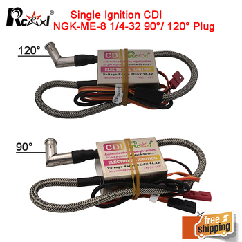 Rcexl Single Ignition CDI NGK-ME-8 1/4-32 90/ 120 Degrees for Gas Petrol Engine RC Airplane rcexl ignition cdi cm6 10mm 90 or 120 degree spark plug dle gas petrol engine for dle20 dle30 dle55 crrcpro gp26r gp50r dle20ra