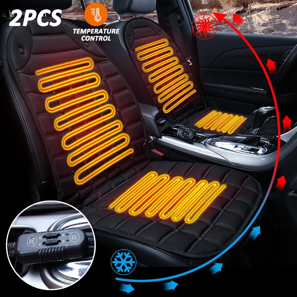 Otomobiller ve Motosikletler'ten Otomobil Koltuk Kapakları'de 12V elektrikli isıtmalı araba koltuğu ısıtıcı yastık isıtıcı kapak kış ısıtmalı sıcak yüksek düşük sıcaklık araba aksesuarları title=