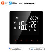 Tuya Smart Life WiFi termostat regulator temperatury do wody elektryczne ogrzewanie podłogowe woda kocioł gazowy współpracuje z Alexa Google tanie tanio AllbeAI A-05 110-230VAC 50~60HZ build-in sensor and floor sensor -5 ~ 50 C 5 ~ 95 C
