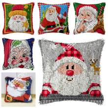DIY Latch Hook Cushion Kit Santa Clause Pillow Case Crochet Crafts Acrylic Yarn for Embroidery Sofa Bed Cushion Cover Home Decor(China)