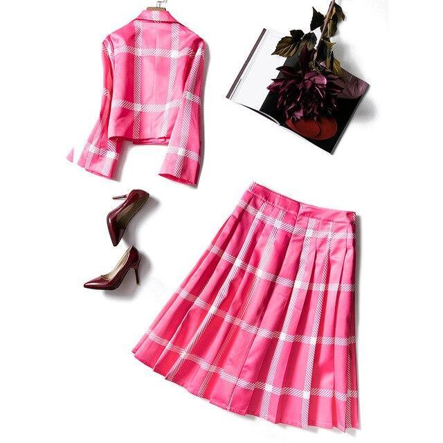 2019 New Arrival Autumn Winter Skirt Suits Women Blazer Suit Jacket Tops Pleated Skirt High Quality Runway Designer 2 Piece Sets
