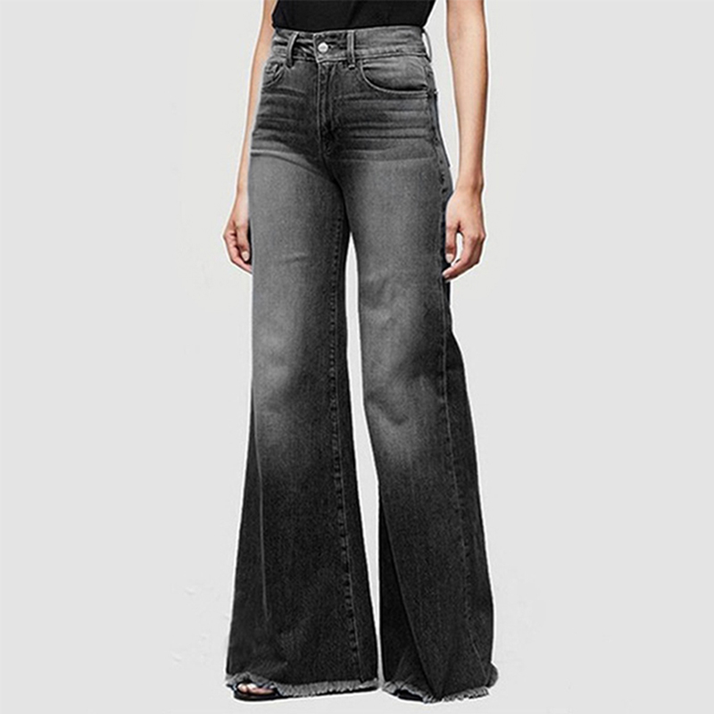 Jeans For Women Mom Jeans Mid Waist Jeans Woman High Elastic Plus Size Stretch Jeans Female Washed Denim Loose Flare Pants