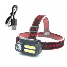 Portable mini XPE+COB LED Headlamp USB Rechargeable Camping Head lamp Fishing headlight flashlight headlamp torch portable xpe led 1000lm display rechargeable wrist watch flashlight torch waterproof