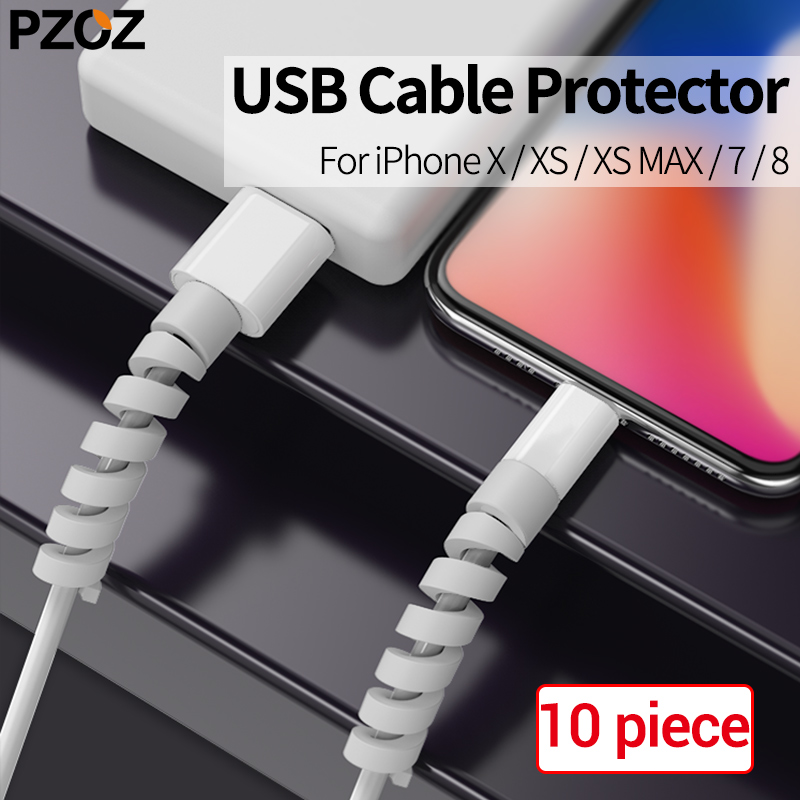 PZOZ 10pcs Cable Protector Saver Cover Anti-Break Universal Cable Winder for Apple IPhone 7 8 X xs USB Charger Cable Protection