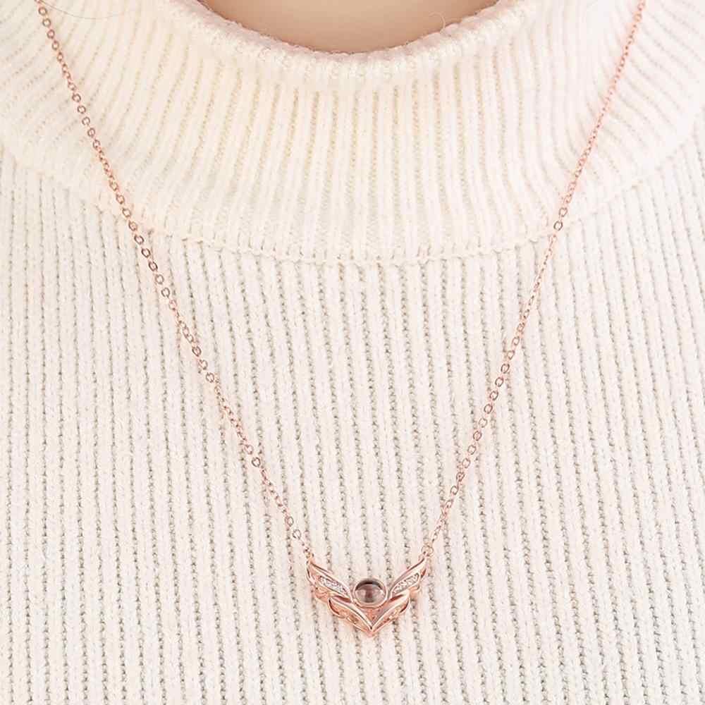 Flügel form Valentines tag geschenk 100 Sprachen Sagt ICH liebe Sie Projektion herz Halskette Weihnachten geschenk für freundin präsentieren A1