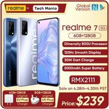 Realme 7 5g dimensão 800u 6/8gb 128gb rom 120hz display 48mp quad câmera 5000mah bateria grande versão global 30w dardo carregador