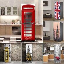 לונדון דפוס עיצוב עצמי דבק ויניל מקרר דלת מדבקת ציור קיר גדול כיסוי עבור מקרר מטבח ריהוט קישוט