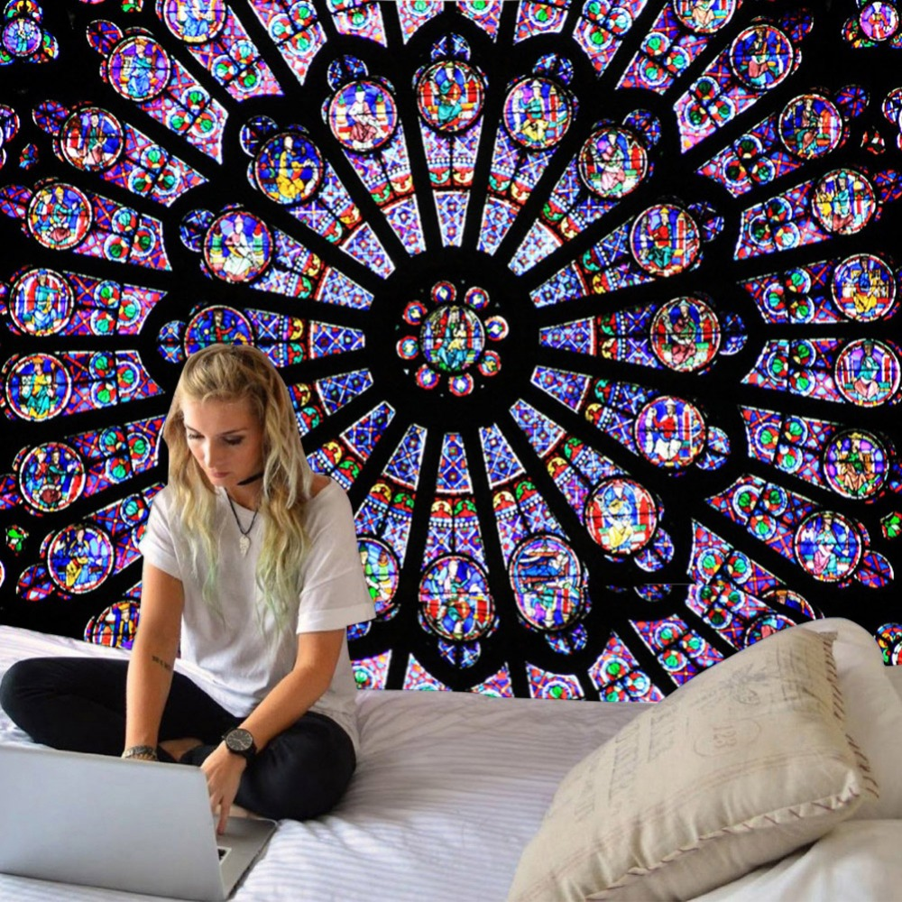 Drop Shipping Notre Dame Cathedral In Paris South Rose Window Tapestry Polyester Printed Wall Hanging Decor Art