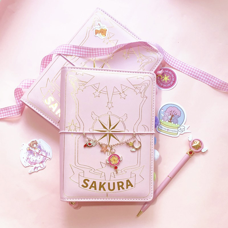 3 Styles Card Captor Sakura Anime Action Figure Printed Paper Handbook Magic Notebook Lovely Moon Star Diary Book Stationery Set