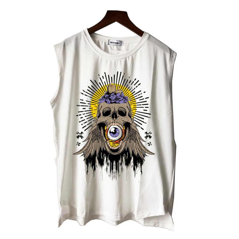 Czaszki i róże metal rock goth art rock n roll mężczyźni kobiety chłopiec dziewczyna podkoszulki casual punk hip hop letnia kamizelka koszulka bez rękawów