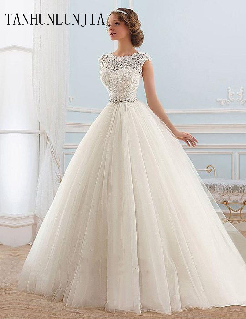 2020 Vestido De Noiva Lace And Tulle Bride Wedding Dress  Princess Tube Top Beading Wedding Gown Custom-made