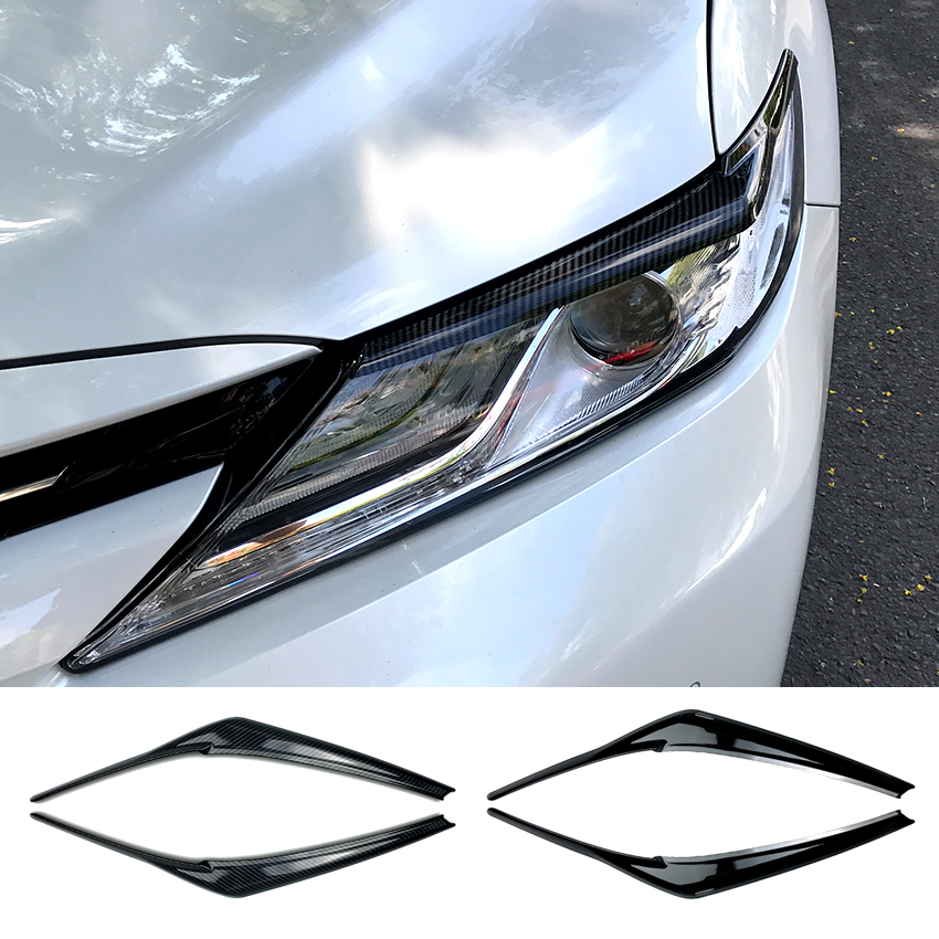 For Toyota Camry 2018+ Car Headlights Eyebrows Eyelids Stickers ABS Trim Cover...