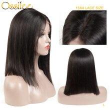 Ossilee – perruque Bob Lace Front Wig Remy brésilienne naturelle, cheveux courts, 13x4, 8-14 pouces, densité 180%, faible Ratio