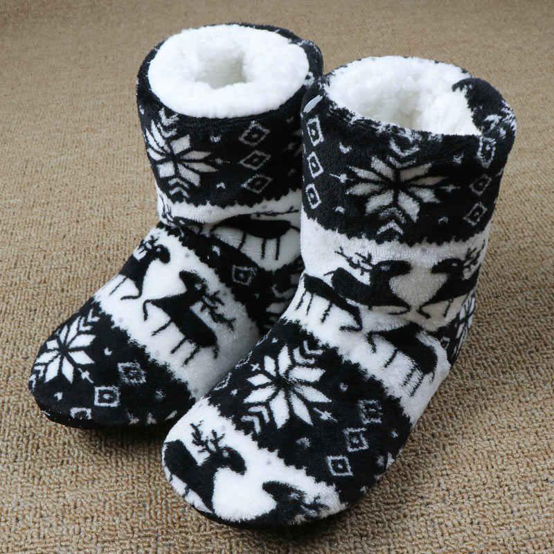 Chinelos de pele de inverno feminino casa quente chinelos de pelúcia flip flops natal algodão indoor casa sapatos chão claquette fourrure