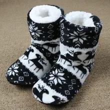 House Slippers Floor-Shoes Flip-Flops Christmas Plush Warm Winter Women Indoor Cotton