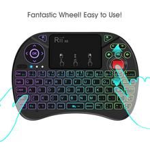 лучшая цена Original Rii X8 2.4GHz Spanish Mini Wireless Keyboard with Touchpad, changeable color LED Backlit, Li-ion Battery for TV Box
