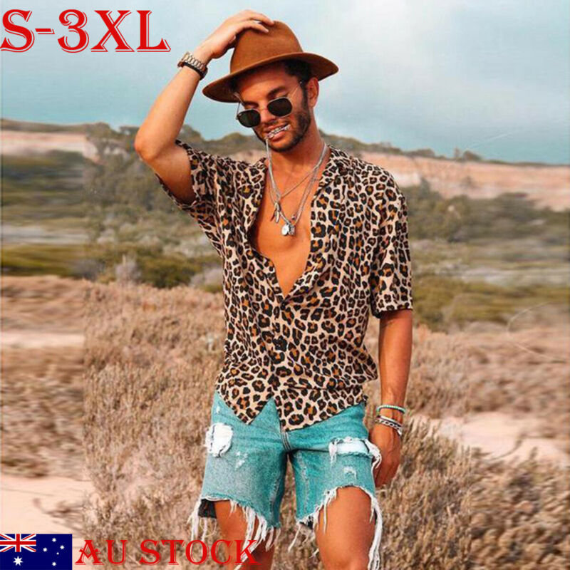 2019 New Men Vintage Leopard Print Shirts Summer Casual Short Sleeve Loose Shirts Man Male Fashion Shirt Tops Plus Size S-3XL