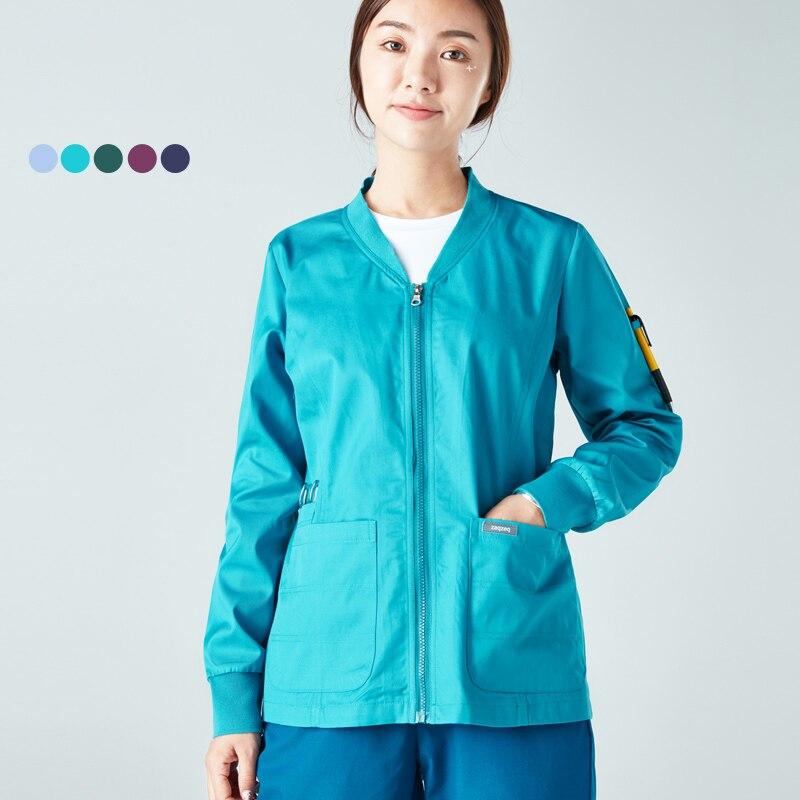 Sporty Warm Up Jackets Medical Scrub Jacket Out Coat Knitted Cuffs Zipper Open Hospital Doctor Nurse Work Jackets