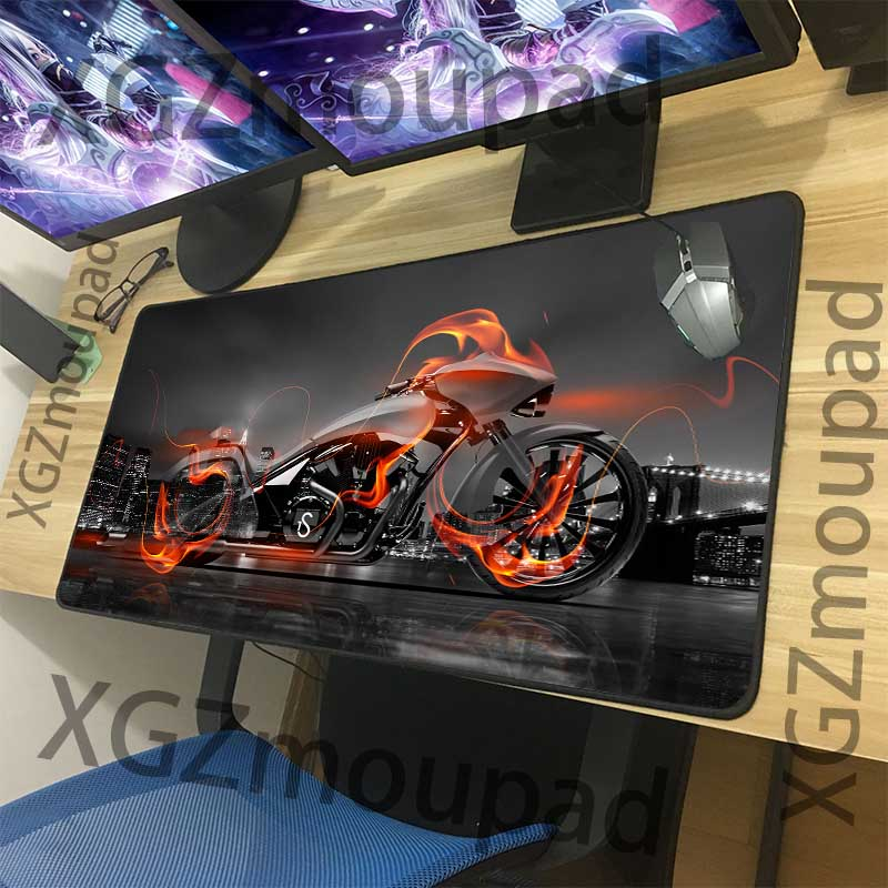 XGZ Fashion Motorcycle HD Custom Large Mouse Pad Exquisite Black Lock Edge Office Computer Desk Mat Rubber Non-slip Xxl