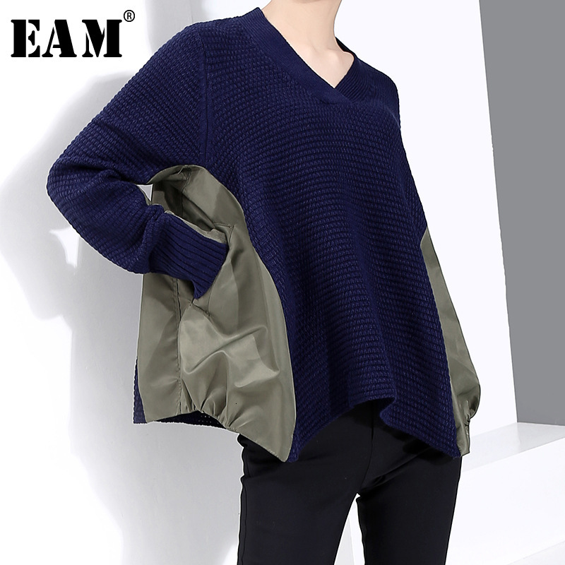 [EAM] Split Big Size Knitting Sweater Loose Fit V-Neck Long Sleeve Women Pullovers New Fashion Tide Autumn Winter 2020 1M815