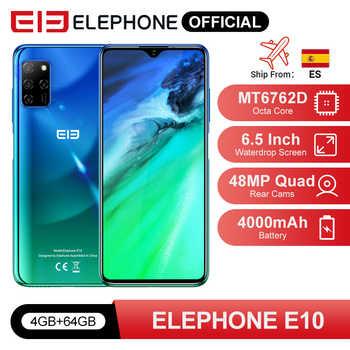 "ELEPHONE E10 Octa çekirdek Smartphone 4GB 64GB 6.5 ""ekran dört kamera 48MP ana kamera Android 10 NFC yan parmak izi cep telefonu"