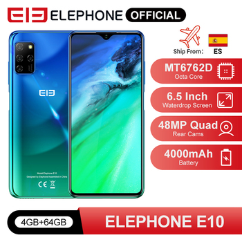ELEPHONE E10 Octa Core Smartphone 4GB 64GB 6.5 Screen Quad Camera 48MP Main Cam Android 10 NFC Side Fingerprint Mobile Phone