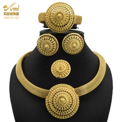 Jewelery Set Earring Arab Jewelry Set Gold Party Gift Women Dubai African Indian Torus Big Necklace Fashion Nigerian Wedding 24K