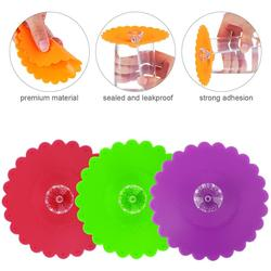 6 sztuk 10.5CM pyłoszczelna pokrywa kubek silikonowy przejrzysty diament z motywem kwiatowym pokrywki do kubków filiżanki pokrywki do kubków (losowy kolor) w Bidony i akcesoria od Dom i ogród na