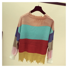 V-neck Patchwork Striped Tassel Sweater RK