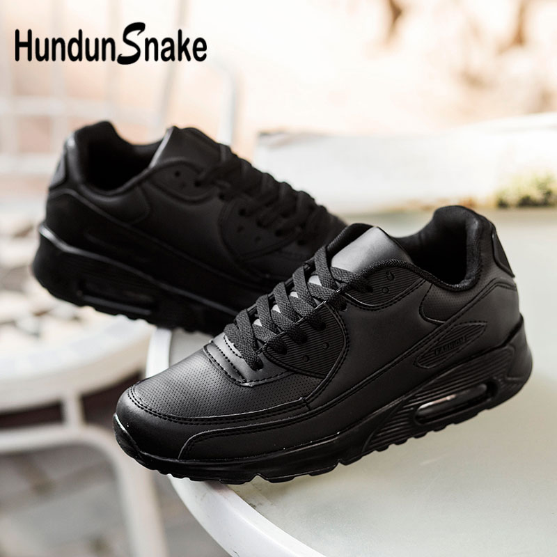 Hundunsnake Leather Women Sport Shoes Air Cushion Men Sneakers For Running Black Zapatos Mujer Chaussures Femme 2018 Walk G-28