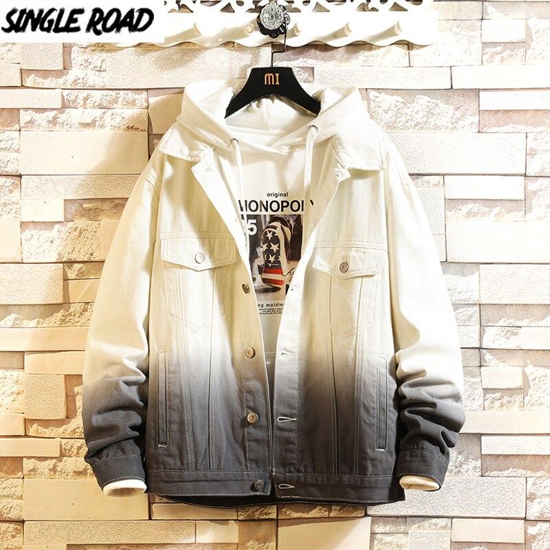 SingleRoad Mens Denim Jacket Men 2020 Gradient Harajuku Hip Hop Coat Japanese Streetwear Fashion Casual Grey Jeans Jacket Men
