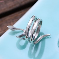 S925 sterling silver jewelry, Korean version, glossy Zodiac snake adjustable couples ring manufacturers direct sale