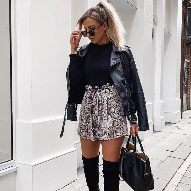 2019 Autumn Paper Bag Sexy Elegant Fashion Lace Up Ruffle Mini Ladies Shorts Skirts Snake Print High Waist Shorts Women