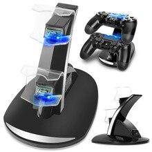 Carregador de controle dual para PS4, estação base Dock LED USB, para carregar manete Sony Playstation 4 / PS4 Pro /PS4 Slim
