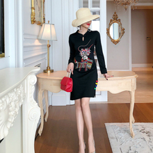 Autumn Winter Embroidered Peking Opera Vintage Dress Women A Line Midi Cotton Red Black Cheongsam Runway Fall