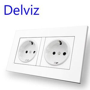 Image 4 - Delviz Standard ue gniazdo USB, podwójne gniazdko, 16A jakość panel zasilania AC 110 ~ 250V 146mm * 86mm, podwójna ramka do obrazu listwa sieciowa USB