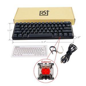 2020 RGB с Подсветкой Bluetooth 5,0 Беспроводная Двухрежимная механическая клавиатура, портативная компактная Водонепроницаемая мини игровая 61 кла...