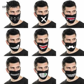 VIP FASHION Reusable Mouth-muffle Black Facemask 3D Cartoon Print Masks Washable Fabric Fashion Anti Flu Bacteria Face Mask