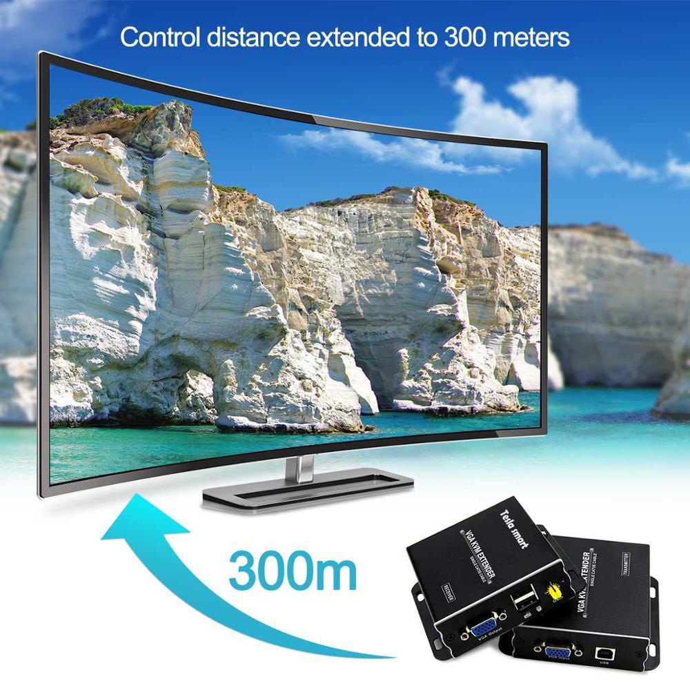 VGA KVM Extender 300m USB 984ft Extender KVM Over Cat5e Cat6 Ethernet Cable VGA Extender( Up To 300m Sender+Receiver) 1080P 60Hz