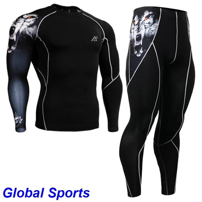 Chemises de Compression pour hommes + pantalons ensembles entraînement gymnase cyclisme vélo Fitness peau serrée couches de Base ensemble