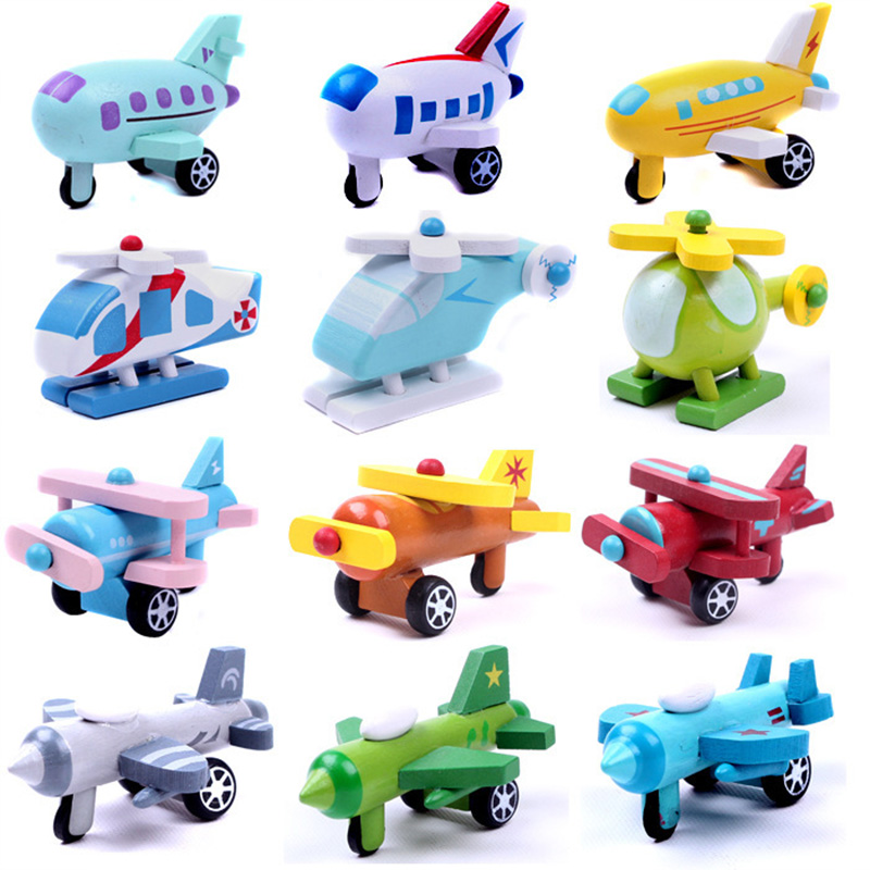 12 Pcs Set Wooden Colored Mini Aircraft Wind Series Model Toy ChildrenS Cognitive Toys