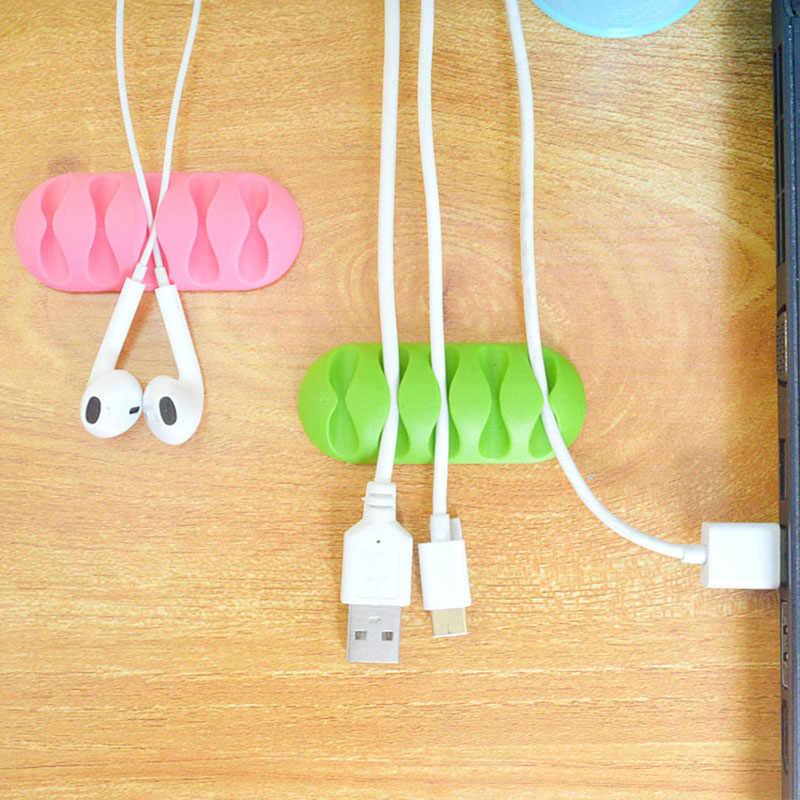 5-Clip para PC TV Cable USB auricular Cable Protector auricular Cable organizador cargador Cable soporte fijación Clips USB corbata