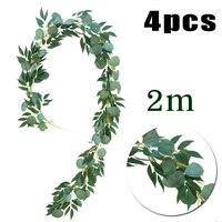 4pcs 2m Hanging Artificial Plant Eucalyptus Vine Greenery Home Garden Decoration Backdrop Simulation Leaves Bush Party
