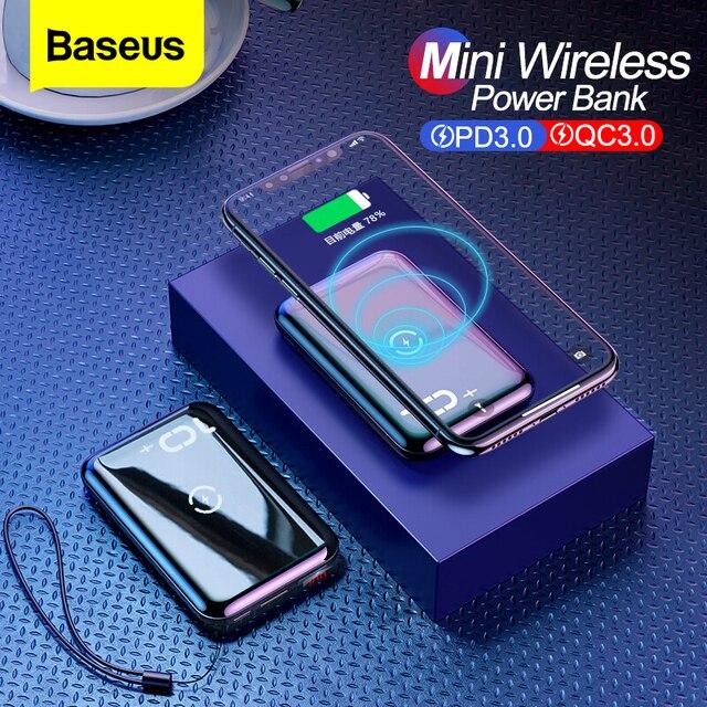 BASEUS Quick Charge 3.0 Power Bank PD QC QC3.0 10000mAh Qi Wireless Charger Powerbank ภายนอกสำหรับ Xiaomi MINI