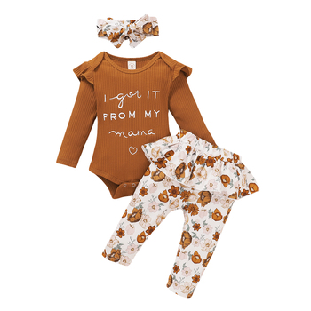 Newborn Baby Girls Clothes Sets 3pcs Letter Floral Print Romper Pants Headband Autumn Outfits 0-24M