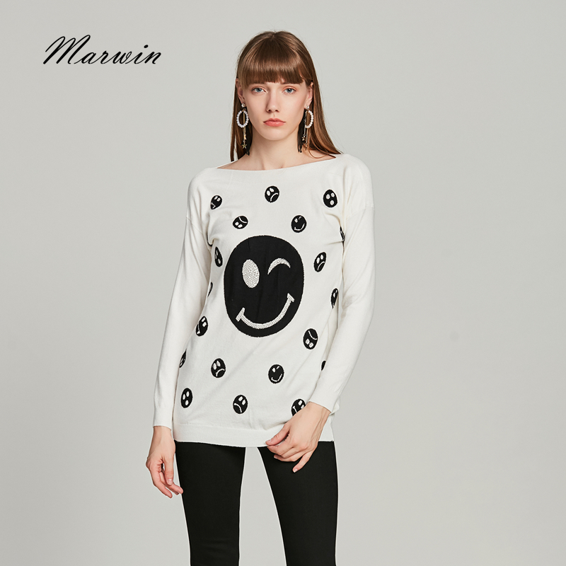 Marwin New-coming Casual Knitted Sweaters Full Pullovers Slash Neck Sweater Beading Cartoon Smiling Face Soft Fashion S