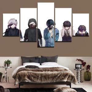 Imagem da parede 5 painel de pintura em tela modular anime tokyo ghoul personagem cartaz para o quarto sala estar arte parede decoração quadro